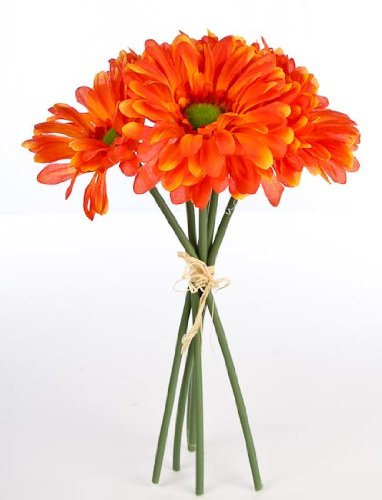 Package of 3- Tangerine Orange Petite Silk African Daisy Bouquets, 18 Total Blooms for Weddings, Centerpieces and More