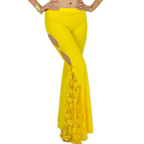 2019 Sexy Women's Belly Dance Side Slit Lace Up Wide Leg Lace Panel Long Palazzo Pants Flared Trousers Pants(Yellow)