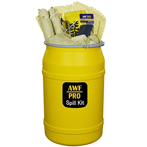 55 Gallon Hazmat Spill Kit, Pro Grade, 125 Pc: Metal Lever Lock Drum, 100 Heavy Duty Pads 15