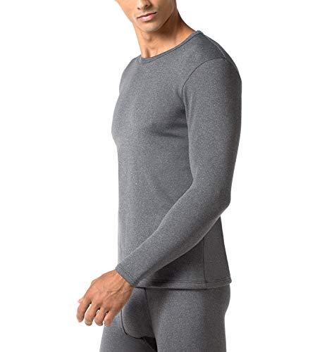 LAPASA Men's Heavyweight Thermal Underwear Top Fleece Lined Base Layer Long Sleeve Shirt M26 (Dark Grey, Medium)