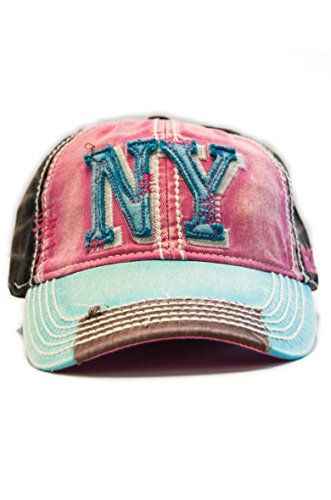 New York 1625 Vintage Baseball Cap (6 Styles Available) (Pink/Blue/Brown)  One Size