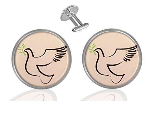 ecowcow Hristian Dove & Olive Branch Custom Classic Jewelry Tuxedo Shirt Cufflinks Men's Unique Business Wedding Gifts