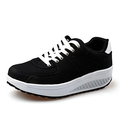 Damesmode Sneakers Canvas Kant Op Dikke Basis Vrijetijdsschoenen Van Btrada Zwart
