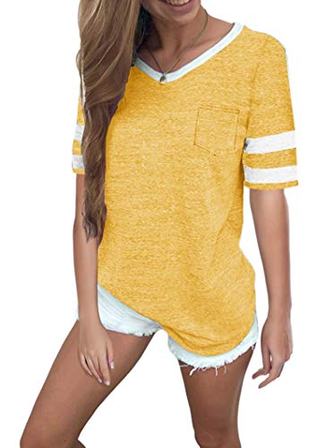 - Twotwowin Women's Summer Tops Casual Cotton V Neck Sport T Shirt Short/Long Sleeve Blouse (Lemon-Yellow, Large)