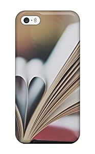 Durable Protector Case Cover With Heart Made Of Book Pages Hot Design For Iphone 5/5s