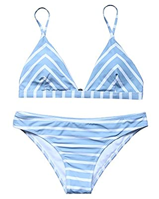 RUUHEE Women Stripe Printing Padded Push up 2 Piece Bikini Sets Swimsuits