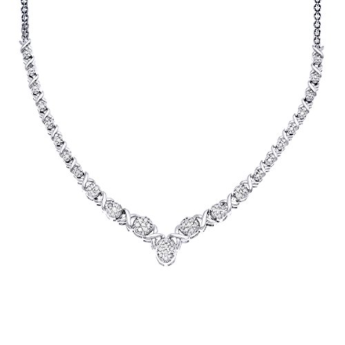 JewelExclusive Sterling Silver 1/2cttw Natural Round-Cut Diamond (J-K Color, I2-I3 Clarity) Oval X/O Necklace, 17'' by JewelExclusive