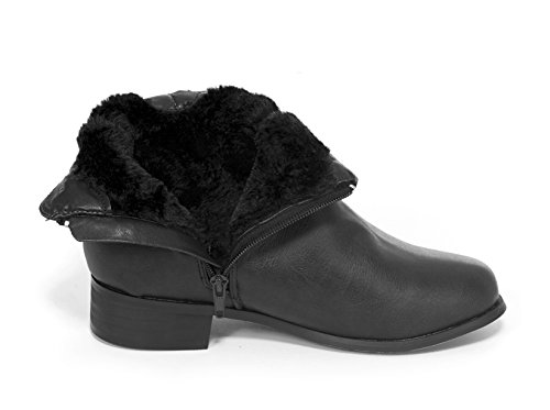 Black Karly Motorcycle Lined Womens Almond Toe Junie's Fur with Zipper Bootie Ankle fqB1Cwg