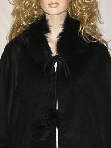 Cashmere Pashmina Group:Cashmere Cape w/genuine Fox Fur Collar & Fox pompom ties (Black) by Cashmere Pashmina Group (Image #7)
