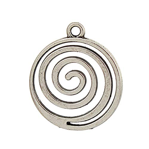 (PEPPERLONELY 20pc Antiqued Silver Alloy Spiral Wave Charms Pendants 19x17mm (6/8