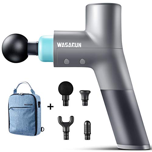 Massage Gun Deep Tissue Percussion Muscle Massager for Pain Relief, WASAGUN Handheld Electric Body Massager, Quiet, 5 Speed High-Intensity Vibration,Upgraded Multipurpose Carrying Bag