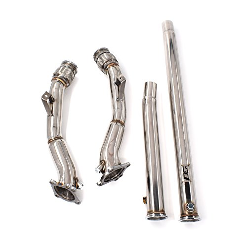 Exhaust Turbo Downpipes 3 in. Fits K03 K04 RS6 for Audi S4 B5 A6 Allroad C5 2.7L Bi-Turbo 6-Speed Manual