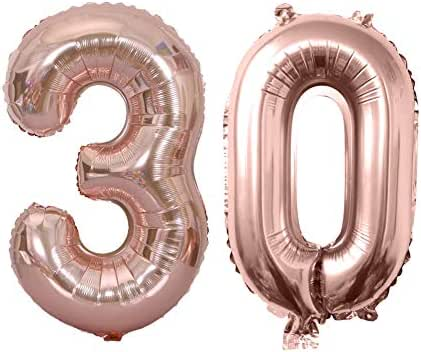 30th Rose Gold Balloons Birthday Decorations for Women 30th Number Balloons Birthday Party Supplies High Quality Aluminum Balloons (Set 2)
