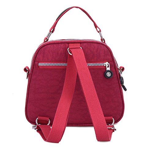Handbag Bag Purlish Mini Candy Cell Dual Resistant Color Water Pouch Crossbody Tiny Layers Phone Nylon Chou Red 2 w6qxWZ