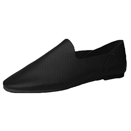 Anguang Hommes Confortable Entreprise Chaussures Flâneur De plein air Au volant Chaussures Mocassins Noir 37