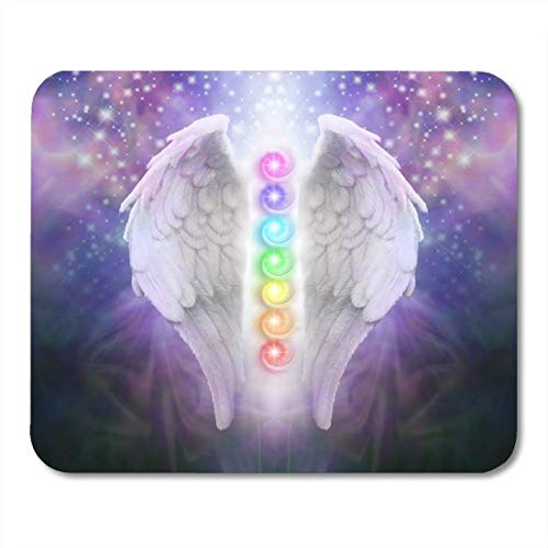 Yanteng Mouse Pads Mouse Pads Angel Wings Chakras Darkness and Light Pair of with The Seven Between with Dark Blue Black and Purple Mouse Pad for notebooks,Desktop Computers ()