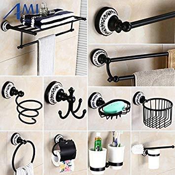 Single Bar only   83BP Series Oil Black BronzeCopper Bathroom Accessories Towel Shelf Towel Bar Paper Holder Cloth Hook Soap Dish Cup Holder
