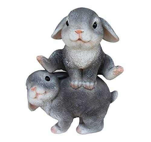 TABOR TOOLS Rabbits Playing Ornament, Terrace Figurine, Miniature Statue, Cute Patio Bunny Figure, Outdoor Decor, Sculpture for Your Garden, Home or Office. DM406A. (2 Rabbits Playing)