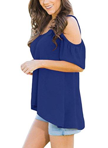 Aleumdr - Camiseta - Asimétrico - Básico - Manga corta - para mujer Azul