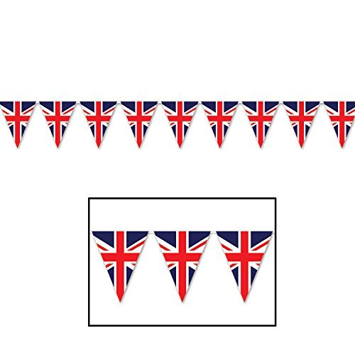 Beistle 59853 Union Jack Pennant Banner, 11 x 12, Red/White/Blue (Value 3-Pack) -