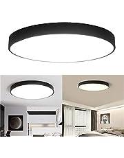 Pettneeds-HE Luz de LED Fluorescente Techo de luz LED Fixture Monte Negro for el hogar Habitación Sala (Color : Warm White, tamaño : 18W)