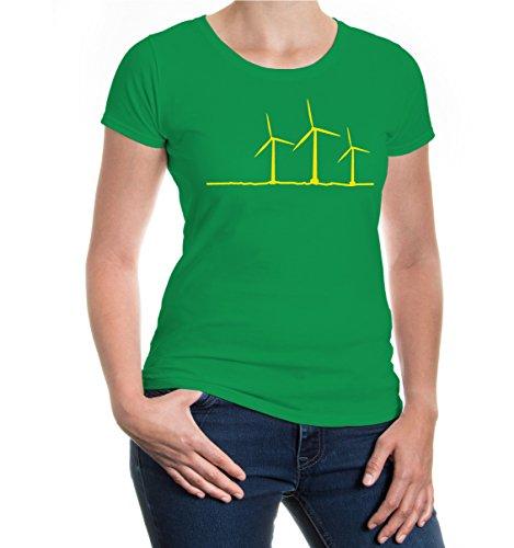 Girlie T-Shirt Wind Turbine kellygreen