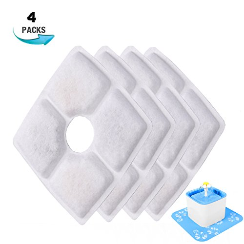 Happypapa 2.5L Cat Fountain Filters Replacement 4 Pack Activated Carbon Filter for 2.5L Pet Fountain Keeps Water Clear and Tasty Encourages Cats and Dogs to Drink More to Stay Healthy -