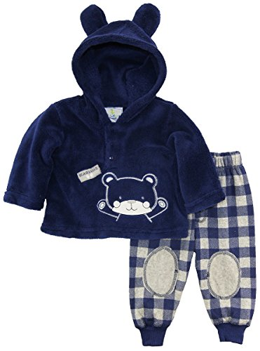 duck-goose-baby-boys-teddy-bear-ear-sherpa-hoodie-microfleece-plaid-pant-set-navy-6-9-months