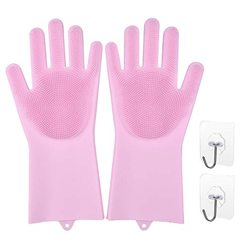 Rubber Cleaning Gloves,Pairs Reusable Silicone Household Kitchen Dishwashing Gloves with Long Sleeve,Waterproof Laundry Cleaning Bathroom Cleaning and Pet Hair Care Gloves for Women Men