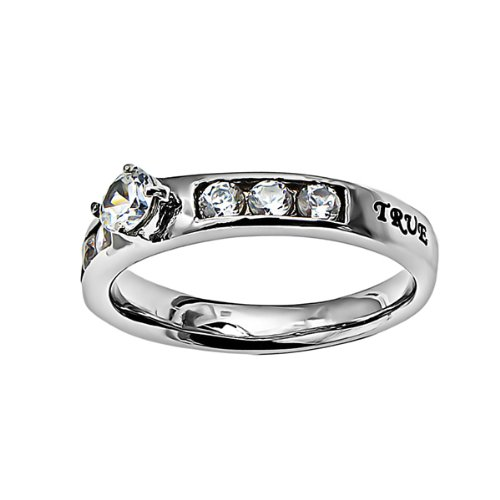 Christian Womens Stainless Steel Abstinence 1 Timothy 4:12 ''True Love Waits'' Princess Solitaire Chastity Ring for Girls - Girls Purity Ring - Comfort Fit Ring by Spirit & Truth