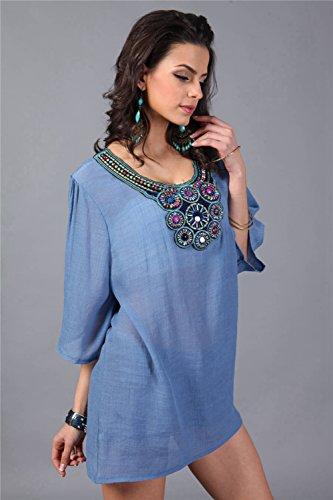 Ferand - Vestido Túnica Mujer Corto con Cuello Embellecido, Tops Elegante con Mangas a 3, Talla única (de M - 3XL) Azul