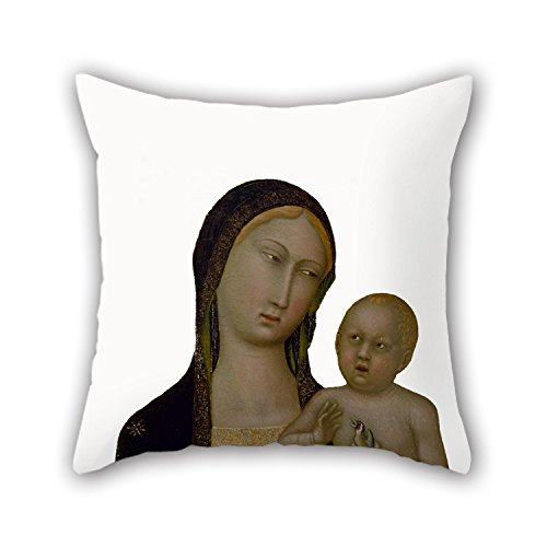 [Loveloveu 16 X 16 Inches / 40 By 40 Cm Oil Painting Master Of The Sienese Straus Madonna - Virgin And Child Pillowcase,both Sides Is Fit For Kids Girls,play] (Madonna Material Girl Pink Dress Costume)