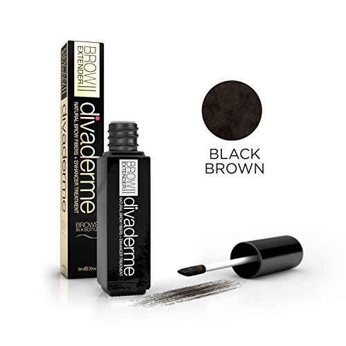 Divaderme Brow Extender II - Black Glass Bottle Edition - 100% Natural Semi Permanent - Eyebrow Fibers + Enhancer Treatment - Made in USA (Black Brown) | Amazon Reviews | Cool gadgets | Ideas | Products | Makeup | Fashion | Beauty | Fashion Tricks