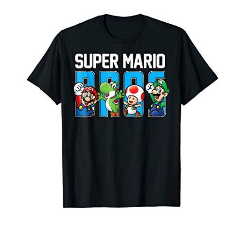 Dark Bro T-shirt Womens (Super Mario Bros Characters Letter Fill Graphic T-Shirt)