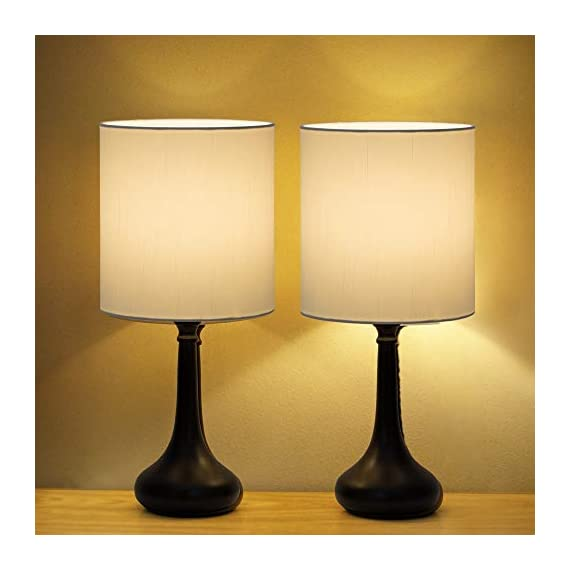Table Lamps Set of 2 Bedside Lamps Modern Desk Nightstand Lamps Pair with Black Metal Base and White Fabric Shade for Bedroom Office Living Room - 🐱🚀【Unique Modern Design】The modern table lamp pair are constructed of high-quality metal body and white fabric shade that looks very stylish and beautiful, metal lamps holder is very smooth and good sense of touch, and have a convenient on and off switch on power cord, white lampshades can also provide bright ligh, you will love it. 🌍【ideal Lamps Size and Beautiful】Small table lamps set of 2 dimension - 16.2 x 7.1 x 4.3 inches, decorate your room on the table or bedside, Turn on the awesome table lamps to make your room bright and full of warm light, make your room unique and style. So the romantic table lamp can also be given as a gift to your friends, family or yourself. 🔔【Easy to Use & Essambly】The cord, socket and plug of nightstand table lamp are UL listed. This dorm lamp is nationally recognized for its standard of safety. An on-off button switch on the power cord, easy to use and safe (No touch switch), you don't need to worry about security issues in during use. - lamps, bedroom-decor, bedroom - 418HrWG%2BXqL. SS570  -
