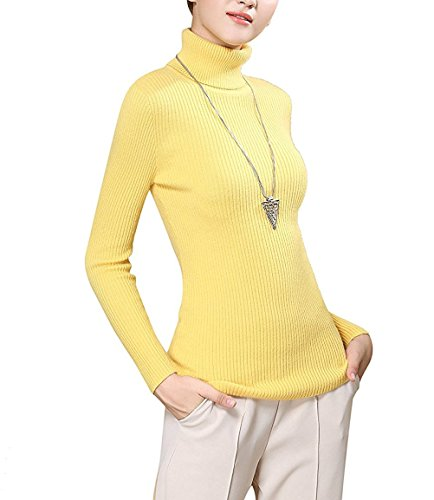 Fengtre Turtleneck Pullover Sweater, Women's Cashmere Stretchy Basic Knit Top,Yellow L (Turtleneck Knit Sweater)
