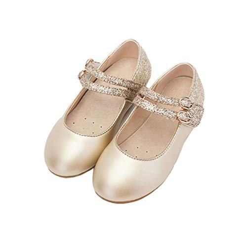 - GLYNEE Girl's Little Kid Front Bow Heart Rhinestone Mary Jane Ballerina Flat Shoes Gold