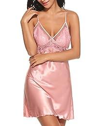 Ekouaer Sleepwear Womens Satin Lace Full Slip Lounge Dress (S-XL)
