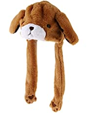 D DOLITY Movable Jumping Bear Ear Hat Fluffy Costume Hat Bunny Plush Hat Party Cap