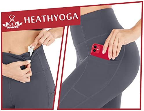 Heathyoga 2 Pack Yoga Pants for Women with Pockets Leggings with Pockets for Women High Waist Workout Leggings for Women 4