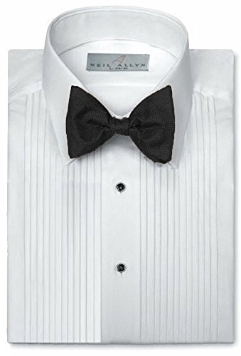 65% Polyester 35% Cotton 1/4 Pintuck (Pleat) Laydown White Collar Convertible Front and Cuff (16.5 X 34-35)White