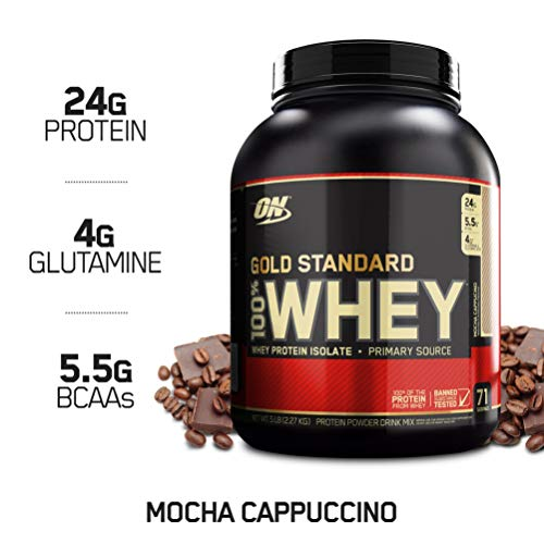 OPTIMUM NUTRITION GOLD STANDARD 100% Whey Protein Powder, Mocha Cappuccino, 5 Pound (Protein Powder Without Caffeine)