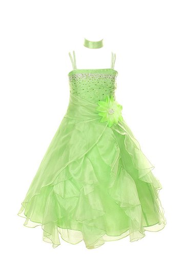 Cinderella Couture Crystal Organza Girl Dress-lime-6 (Lime Flower Girl)