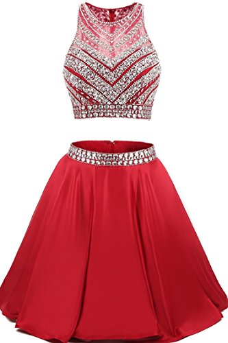 TrendProm Women's Prom Dresses Two Pieces Satin Beaded Evening Dresses Size 4 US Red