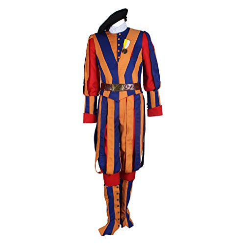Men's Carnival Switzerland Soldiers Swiss Guard Uniform Cosplay Costume S Orange]()
