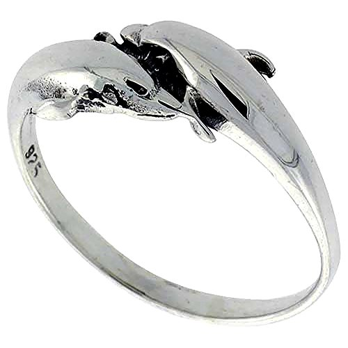 Sterling Silver Double Dolphin Ring for Women 3/8 inch size 10 (Ring Ladies Dolphin)