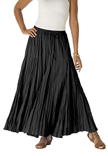 Jessica London Women's Plus Size Cotton Crinkled Maxi Skirt - 12, Black