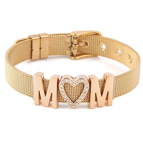 Ladies Stainless Steel Mesh - Y.S.M.Y Fashion Women's Adjustable Stainless Steel Mesh DIY Bracelet-Heart/Love /Lock/Snowflake (Gold-M)