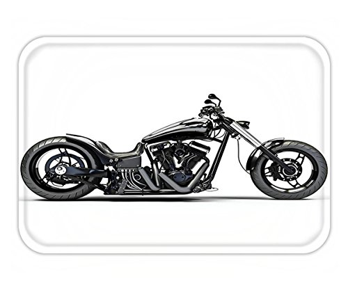 Minicoso Doormat Manly Decor Collection Custom Made Motorcycle Expensive Horsepower Adventurous Masculine Vehicle Design Black Grey - Versace Expensive