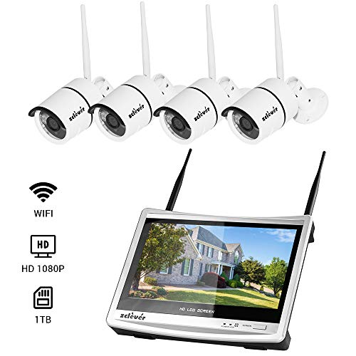 Zclever All-in-One 1080P HD 8CH NVR Wireless WiFi Security Camera System with 11 inches LCD Monitor and 4pcs Outdoor Night Vision IP Surveillance Camera Include 1TB Hard Drive (8 Channel Lcd Security System)